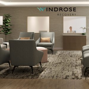 Windrose Recovery lobby with comfortable seating and a receptionist