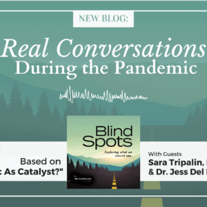 """Graphic for """"Real Conversations During the Pandemic"""" article based on Episode 9 """"Pandemic as Catalyst?"""" of Blind Spots podcast."""